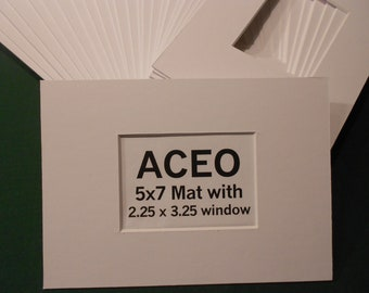 ACEO Photo Mats 5x7 with ACEO size opening (50) White Mats with regular core
