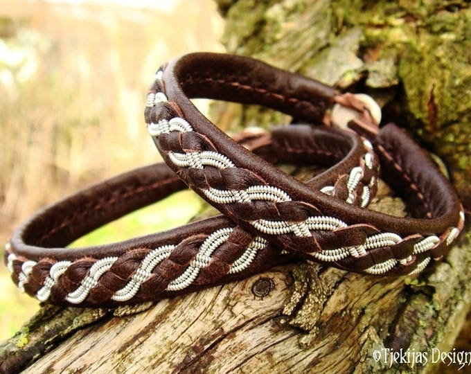 Unisex Saami Viking Bracelet FENRIR Handmade Pewter and Brown Leather Bangle Cuff with Antler closure
