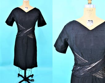 1950s cocktail dress | AS IS short sleeve black pinup wiggle dress | vintage 50s dress | W 27""