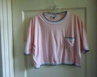 Vintage 80s Super Soft Pink Cropped T Shirt sz M/L