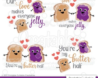 Peanut Butter & Jelly Valentine's Day SVG Cut File Set, Clipart ES033 - svg, dxf, png, for Cricut, Cameo - Includes Limited Commercial Use!