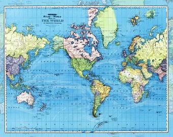 "World Map Fleece Blanket throw - ""Ocean Currents"" cozy, sofa, couch, bed, travel decor, minimal, soft, blue, winter, warm, wanderlust"