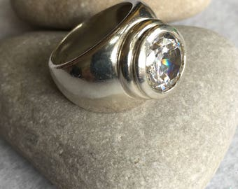 Sterling Silver Ring with Round, Clear Stone