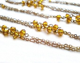 Long chain necklace - gold topaz color crystal beads, versatile 52 inch chain, opera length necklace, long layering jewelry