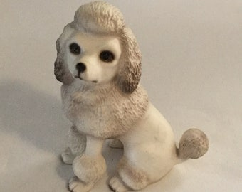 1986 H Knox Global Art Ceramic Poodle Dog Figurine