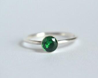 14k White Gold Emerald Ring- Emerald Ring, Dainty Ring, Stacking Ring, Stackable Ring, Gemstone Stacking Ring, 14k Emerald Ring