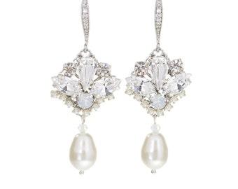 Wedding Earrings , Bridal Pearl Earrings , Wedding  Crystal Earrings , Ivory Pearl Earrings , Swarovski Drop Earrings ,Wedding Jewelry