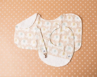 Elephants Gender neutral Baby gift set Newborn Bib Burp cloth Paciclip Flannel Chenille Little Tommys Blue Nude Baby shower Soft Absorbent