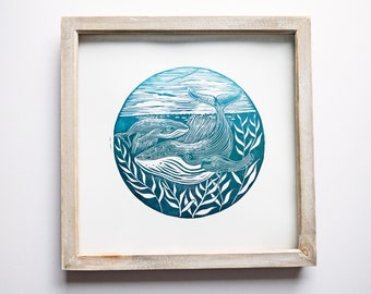 Whale Print Nautical Print Humpback Whale Nature Lino Print Lino Cut Original Art Limited Edition Hand Printed Gift Nautical Decor Seascape