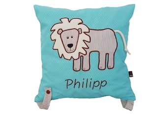 Cuddly pillow lion with name (turquoise)
