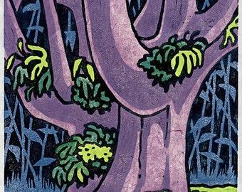 Big Tree - moku hanga woodblock print of Monkeypod tree in Hawai'i; signed limited edition of 6.