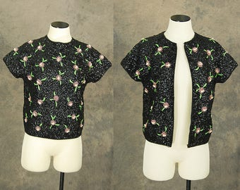 vintage 60s Beaded Sweater - 1960s Floral Beaded Black Wool Sweater Beaded Cardigan Jacket SZ S M