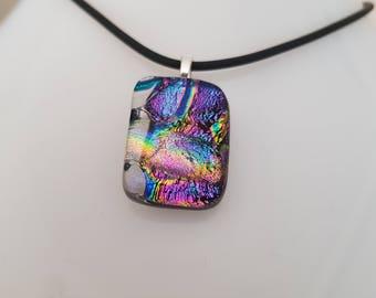 Rainbow effect dichroic glass pendant