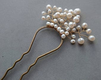 Freshwater Pearl Hair Fork - White Pearl and Gold Bridal Hair Accessory
