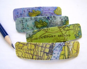 "Small Maine Barrette 3"" Vintage Map Graphics - with or without Resin Finish - Hallowell - Southport - Squirrel Island -  Coastal Maine Clasp"