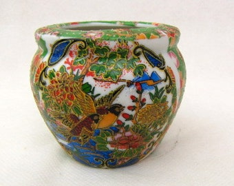 Vintage ~ Chinese Mini Vase ~ Faux Cloisonne ~ Green ~ Gold Trim ~ Birds ~ Keepsake Jar ~ Collectible ~ Ceramic ~ candle, beads not included