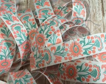 Tropic Coral Flower Glitter Print 7/8 inch Grosgrain Ribbon by the Yard USDR Ribbon High Quality  Beach Summer Print Ribbon