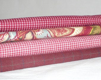 Rot Stoffbündel, roten Karos und Karos, Homespun, Destash, Baumwolle, Urlaub Handwerk Bundle, über 1,5 YARDS