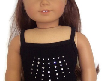 18 inch Doll Clothes Tank Top with Rhinestones-Black Made to Fit Like American Girl free Shipping