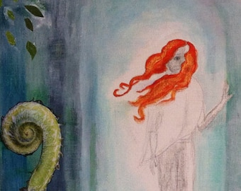 """Painting redhaired girl """"Out of the woods"""""""