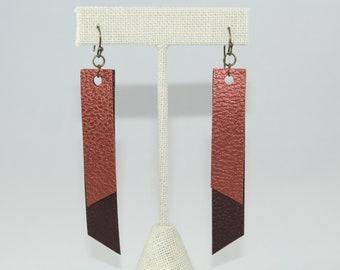 Faux Leather Brown & Copper Earrings