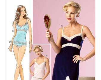 Sewing Pattern for Misses' Lace-Trimmed Camisoles, Slip and Panties, Butterick Pattern 6031, Women's Lingerie Pattern