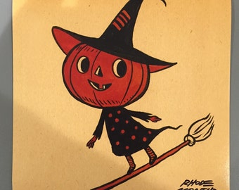 Vintage Style Halloween 8 x 8 inch PRINT by Rhode Montijo- BROOM SHREDDER