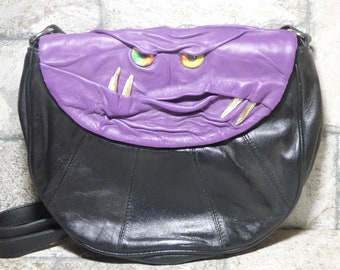Cross Body Adjustable Purse With Face Monster Black Leather Harry Potter Labyrinth Unique Gift 448