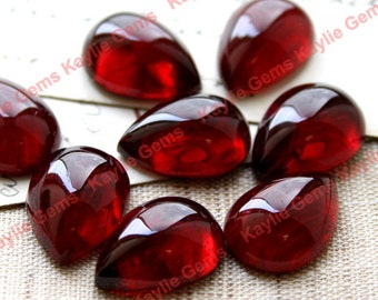 18x13mm Vintage Japaness Tear Drop Pear Glass Cabochon Cab Smooth Dome - Ruby - Last two
