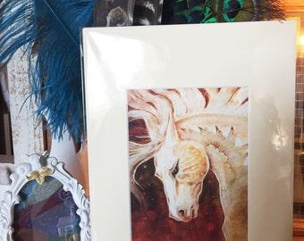 White horse print, horse art, fairytale horse art, magic horse print, equine print, magical horse print, fantasy horse art
