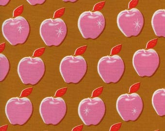 Cotton + Steel Picnic, Apples in Pink, Cotton and Steel Pink Apple Fabric, Bubblegum Pink Fabric, Fruit Print Fabric, Goldenrod Yellow
