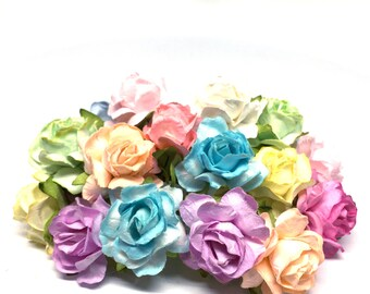Pastel Mix Classic Mulberry Paper Roses Cr050