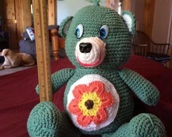 Crocheted Green Teddy Bear