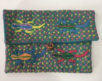 Handmade embroidered purse - animal Malagasy design