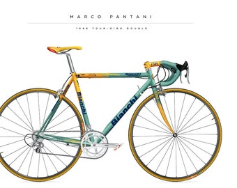 Bike print of  the Marco Pantani Bianchi from 1998