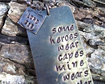 Kevlar necklace police officer quote necklace military quote necklace dog tag necklace police officer wife necklace miltary wife necklace