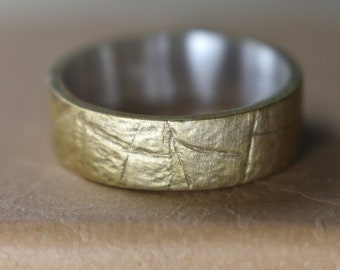 Womens Gold Plated Ring. Gold Plated Sterling Silver Rustic Ring. Womens Promise Ring Gold Plated and Silver. Promise Gold Plated Ring