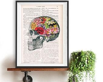 Collage Art Print fleuri cerveau imprimé sur la page de livre dictionnaire Vintage. Art de décoration murale, décor d'anatomie, art imprimé floral
