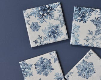 Blue Snowflake Coasters, Christmas Hostess Gift, Dark Blue on White, Watercolor Snowflakes, Gift under 25, Ceramic Tile Drink Coaster Set