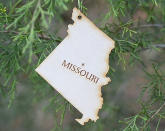 Natural Wood Missouri State Ornament