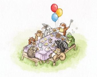 The Pancake Picnic - Cute Animal Art Print