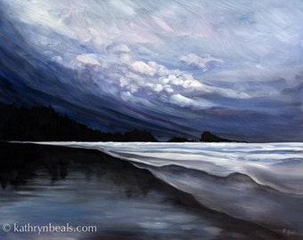 Stormy Skies over Tofino Beach Landscape Painting - Photo Print