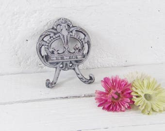Shabby Hand Painted Wall Hook / Blue Crown Hook / Shabby Chic French / Cast Iron / Princess Crown Hook / Crown Hook