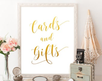 DIY wedding cards and gifts Wedding card box Cards sign wedding Table card Gift table sign Gold foil signage Wedding decor printable