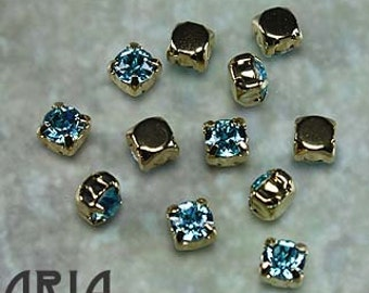 LIGHT TURQUOISE: Swarovski SS29 6.5mm 17704 Xilion Gold Plated Two Hole Sew-On Slider Bead Component (12)