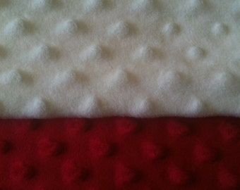 Minky Blanket- Cream and Red  35 x 30