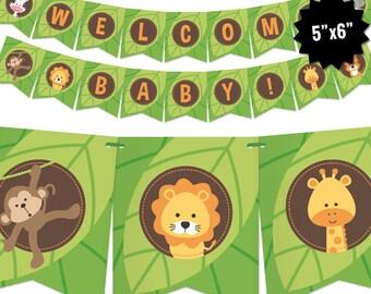 Safari Baby Shower Banner - Jungle Theme Bunting Banner - Printable Pennant Garland - Safari Gender Neutral Baby Shower Decoration - Digital