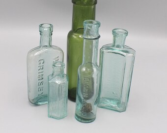 Instant Collection of 5 Vintage Bottles in Blue, Clear, Green W.W Butt, Not to be Taken, Crown Brand, Burdall and Burdall set no.34