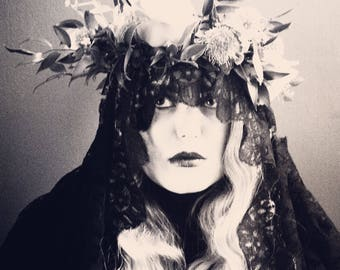 Antique mourning shawl - gothic bride - steampunk - halloween costume - black lace shawl - veil - gothic wedding - goth - vintage shawl