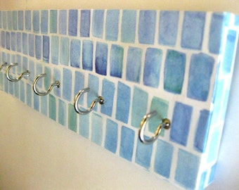 "Jewelry Holder and Key Rack  Sea Glass, Blue, Teal, Aquamarine, Ocean, Pattern, Organization, Beach, Sea, Sea Colors "" Sea Glass"""